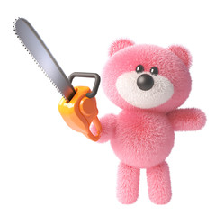 3d teddy bear character with pink fluffy fur brandishing a chainsaw, 3d illustration