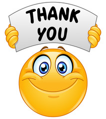 emoticon with thank you sign