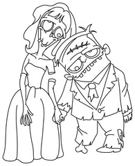 outlined zombie wedding
