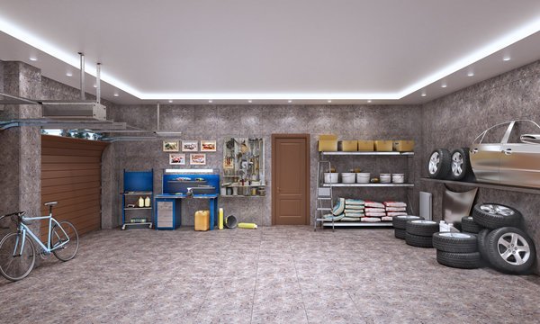 Garage interior with marble tiles and car components, 3d illustration