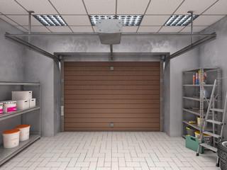 Garage interior with roller door, look from inside