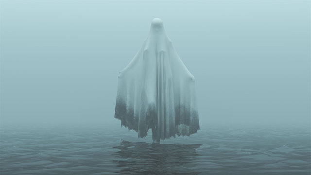 Floating Evil Spirit Ghost with one Knee Raised and Arms Out in a Death Shroud Over Water on a Foggy Day Front View 3d Illustration 3d Rendering