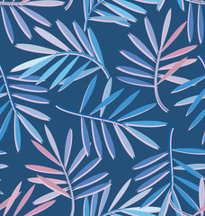 Seamless pattern with tropical cirrus leaves. Blue background with fantasy tropical leaves in trendy colors.