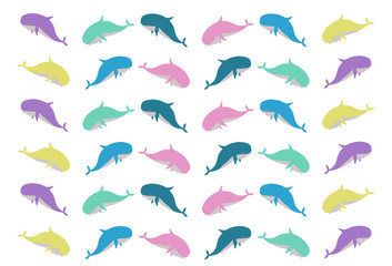 Cute whale waves and the sea Blue vector image There are boats and the sky is an illustration for little children.