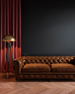 Black classic loft interior with leather sofa, floor lamp, curtain and wood floor. 3d max interior mockup.