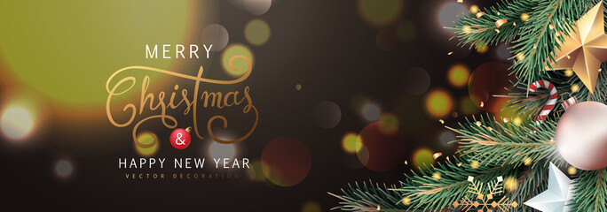 Wall Mural - Merry Christmas and Happy New Year Background sparkle blur bokeh effect and and stars decoration.Merry Christmas vector text Calligraphic Lettering Vector illustration.