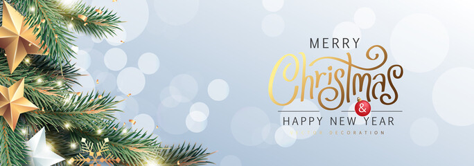 Fototapete - Merry Christmas and Happy New Year Background sparkle blur bokeh effect and and stars decoration.Merry Christmas vector text Calligraphic Lettering Vector illustration.