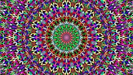 Colorful floral garden mandala wallpaper - bohemian abstract vector yoga background graphic