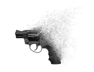 A gun crumbling into particles in space isolate on a white background. No more weapons, concept. Gun pistol revolver isolated on white background