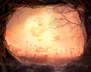 Thanksgiving concept: Scary cave stone on full moon in autumn night wallpaper background - 3D illustration