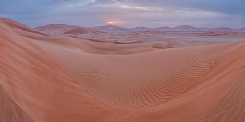Sand dunes panorama in Empty Quarter, Oman