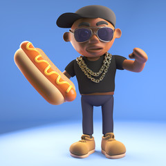 Black 3d cartoon hiphop rapper emcee character eating a hotdog hot dog, 3d illustration
