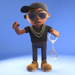 3d cartoon black hiphop rapper in baseball cap holding a pair of handcuffs, 3d illustration