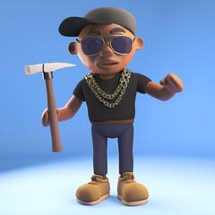 Cartoon 3d black hiphop rapper character holding a hammer, 3d illustration
