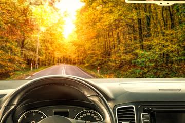Fond de hotte en verre imprimé Vintage voitures Car interior and autumn road in forest