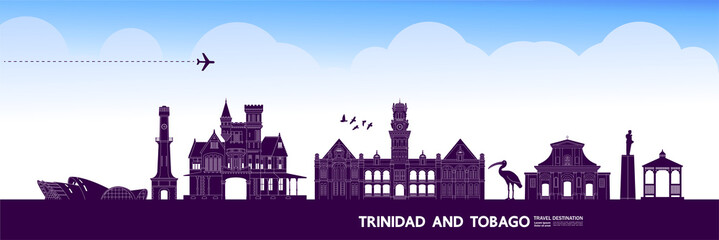 Fotomurales - Trinidad and Tobago travel destination grand vector illustration.