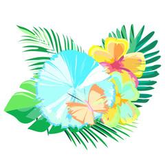Tropical plants flowers, vector illustration