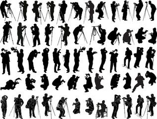 illustration with fifty nine photographers on white