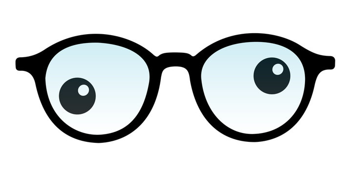 Crossed eye and strabismus - sight and vision health dysfunction. Eyeglasses frame and poor eyes. Vector illustration isolated on white