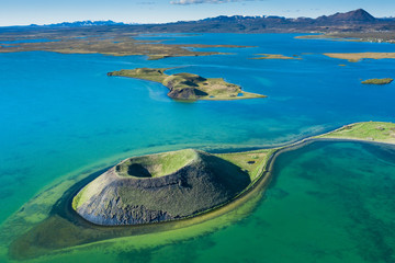 Foto auf AluDibond Insel volcanic craters in Iceland aerial view from above, Myvatn lake