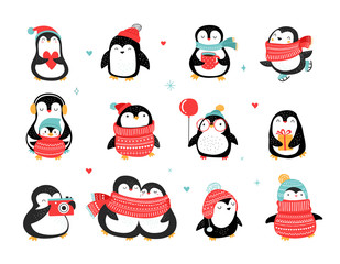 Cute hand drawn penguins collection, Merry Christmas greetings. Vector illustration