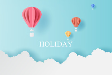 Landscape of balloons colorful fly with Cloud on blue sky.Holiday and festival season concept.Creative design paper cut and craft style scene for your text.Minimal pastel color.vector illustration.