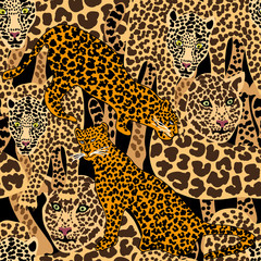 Seamless vector animal print with jaguar spots.