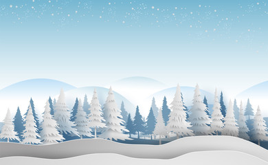 Scenery Merry Christmas and New Year on holidays landscape with forest winter snowflakes season landscape.Creative design paper art and cut style for card and Xmas postcard Vector Illustration.EPS10
