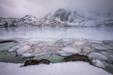 Frozen lake and snow covered mountains