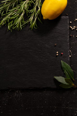 Dark food background with copy space