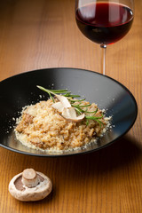 Risotto with mushrooms, food close-up