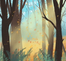 Autumn forest landscape. The leaves fall in the forest.