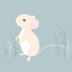 Flat illustration of a cute mouse character. The mouse is standing.