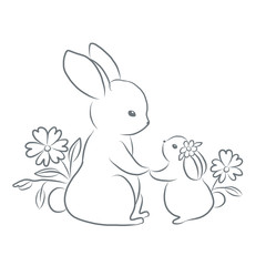 Cute mom rabbit with her kid.