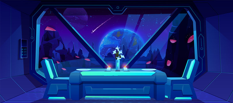 Futuristic cafe with spaceship view on Earth at night from alien planet. Served table and chairs stand at shuttle window with fantasy landscape, neon space background. Cartoon vector illustration