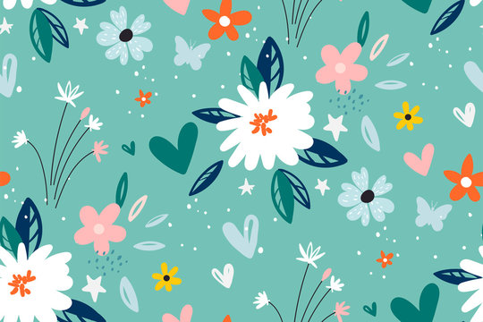 Garden flower, plants ,botanical ,seamless pattern vector design for fashion,fabric,wallpaper and all prints on green mint background color.