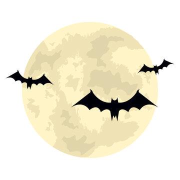 bats flying halloween with moon