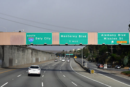 San Francisco; USA - july 1 2016 : interstate south 280