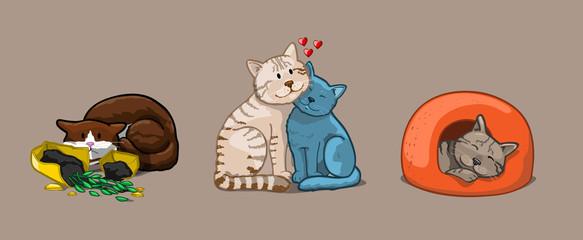 Cat set icons. Vector Illustration Cartoon