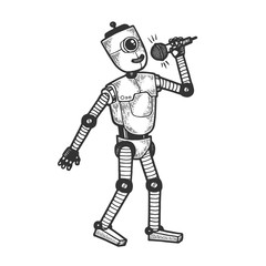 Robot singer vocalist with microphone sketch engraving vector illustration. Tee shirt apparel print design. Scratch board style imitation. Black and white hand drawn image.