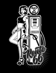 Vintage Gas Pump Pin-Up Girl. Pin-Up Girl on Gas Station.