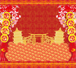In de dag Rood traf. Mid-Autumn Festival for Chinese New Year - card