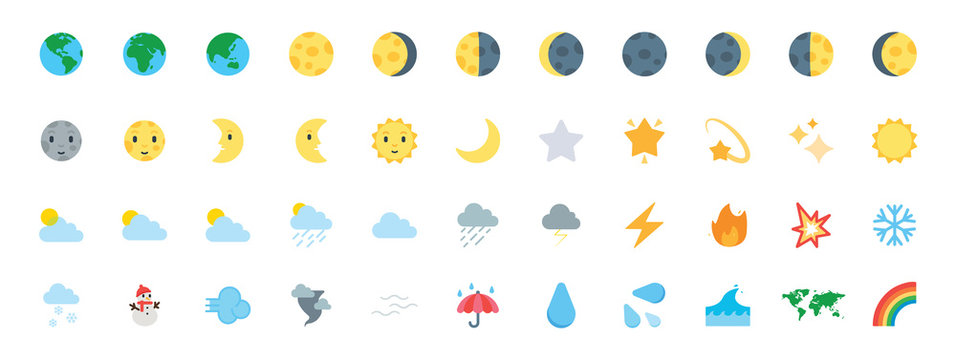 Earth, Planet Icons Vector Set. All Type of Moon Faces. Weather Icons Collection. Temperature, Cloud, Sky Symbols, Emojis Set