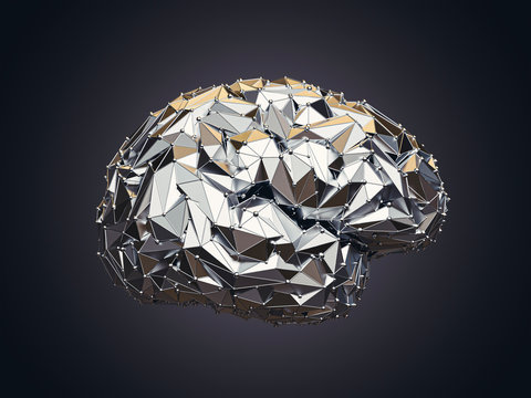 3d illustration of human low poly brain made of metal, AI concept
