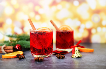 Christmas mulled wine delicious holiday like parties with orange cinnamon star anise spices traditional christmas drinks winter holidays homemade red mulled wine glasses decorated table
