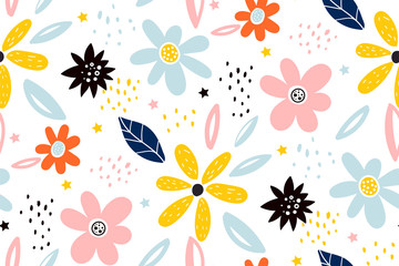 Seamless childish pattern with fairy flowers. Creative kids city texture for fabric, wrapping, textile, wallpaper, apparel.
