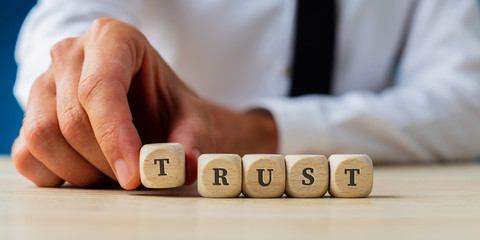 Businessman assembling the word Trust