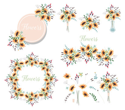 Bouquet of flowers in a vase. Set of floral wreaths and various design elements for greeting cards. Yellow sunflowers. Spring ornament concept.