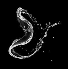 Fototapete - Fresh water splashes in twisted shape on black background