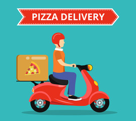 Concept of the fast pizza delivery service on scooter or motorbike. Flat vector illustration.